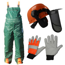 Chainsaw Forestry Safety Protection Bib Brace Trousers Gloves Helmet Kit