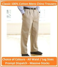 HENBURY MENS CHINO TROUSERS (H600) 3 COLOURS ALL SIZES 100% COTTON TWILL