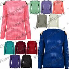 Ladies Studded Spikes Shoulder Womens Girls Knitted Jumper Sweater Top Size 8-14