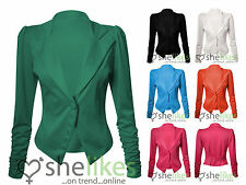 Womens Long Sleeve Jacket Ladies Ruched Sleeve Button Up Jacket Smart Blazer Top