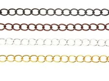 1 Metre Metal Curb Chain, Silver, Gold, Copper, Black Or Antique Silver 9x7mm