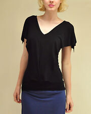 Amour Vert eco Organic Bamboo cotton black flutter sleeve Open Back top S M L XL
