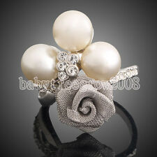18K White Gold GP Austrian Crystal Pearl Flower Cocktail Ring M216