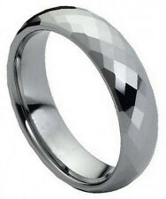 6mm Tungsten Carbide  Men Women Wedding Band Ring Faceted Domed Shaped