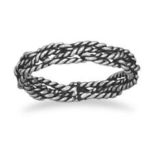 Oxidized Braided Ring .925 Sterling Silver Thin Band Very Simple Plain Classic