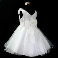 W668 Whites X'mas Christening Baptism Communion Flower Girl Dress 2 4 6 8 10 12T