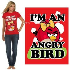 Ladies Official Angry Birds I'm An Angry Bird Red T Shirt Sizes M L XL