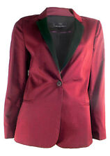 TOPSHOP LONG SLEEVE WINE BLAZER WITH BLACK REVERE SINGLE BUTTON FASTENING