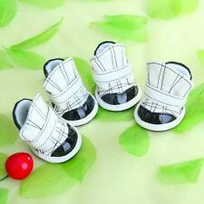 Anti-slip PU Leather Velcro Shoes Boots Booties for Pet Dog Puppy Black & White