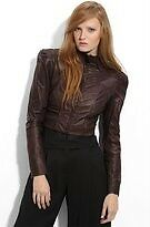L.A.M.B. LAMB Gwen Stefani Cropped Motorcycle Biker Leather Jacket Brown $550