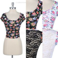 Full Lace Back Panel All Over Floral Print Front Cap Sleeve Cotton Cropped Top