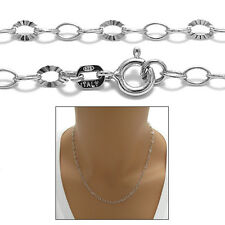 925 Sterling Silver Rhodium Rolo w/ Laser Cut Link Chain Necklace 3mm