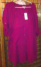 Fashion Bug Top Magenta Long, Long Sleeved that can roll up and button. 2XL