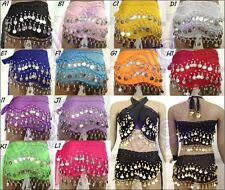12 pcs BELLY DANCE HIP SCARF SKIRT WRAP WHOLESALE LOT Low Price Chiffon Coins