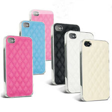 DELUXE LUXURY LEATHER CHROME CASE COVER FOR APPLE IPHONE 4 4S & SCREEN PROTECTOR