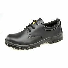 Mens New Black Leather Steel Toe Cap Safety Work Shoes / Trainers Size 4 - 13