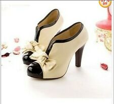 LADIES BEIGE SEXY HIGH HEEL BOW FASHION ANKLE SHOES US5-9.5 #X833