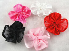 35/175PC Organza Polyester with Cabbage Rose Flower Appliques sewing pick color