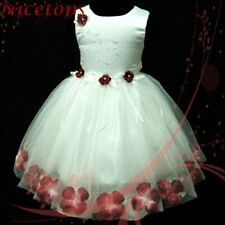 R476 Toddler Reds Wedding Pageant Flower Girls Dress SIZE 9-18 Mths-1-2-3-4-5-6T