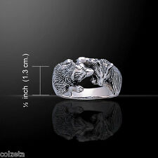 WOLF CUBS RING *amazing detail*.925 sterling silver  2 wolfcubs kissing UNIQUE