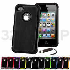 NEW SHOCK PROOF SERIES CASE COVER FITS IPHONE 4 4S FREE SCREEN PROTECTOR STYLUS