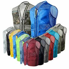 Mens utility multi pocket mesh fishing shooting hiking vests hunting waistcoat