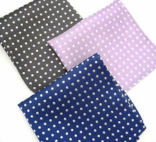 """100% Silk pocket square, Madison Series polkas, 10"""" woven, vibrant, well made"""