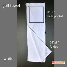 Golf Tour Towel Two-fold Cotton Pocket Balls Tees Bag Buggy Cart  64x20cm