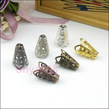 30Pcs Filigree End Bead Caps Cones 11x16mm Silver/Gold/Bronze/Black R5044