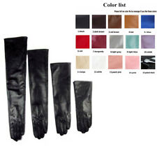 Custom made 30cm to 80cm long plain style evening real leather gloves 9 colors