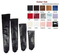Custom made 30cm to 80cm long plain style evening real leather gloves*black