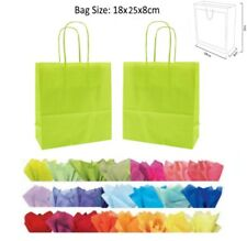 20 x 18 x 8 cm Lime Green Paper Party Gift Bags Wedding Favour Gift Bag & Tissue