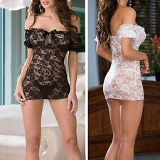 Sexy Off Shoulder Sheer Lingerie Babydoll Underwear Backless Skirt Mini Dress