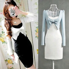 Lady Korean Kawaii Fashion Princess Women Off Two Dress Long Sleeve Bow Sweet
