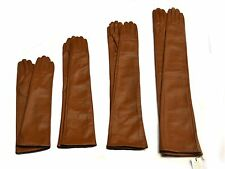 Custom made 30cm to 80cm long plain style evening real leather gloves*camel
