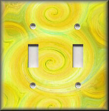 Light Switch Plate Cover - Swirling Colors - Lemon Yellow And Lime Green