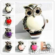 New Elegant Cute Women Lady Owl Cover Elastic Quartz Finger Ring Watch 7 Colors