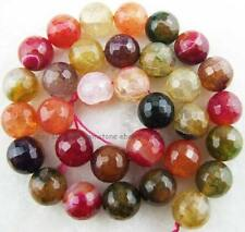 """8mm10mm12mm14mm Muliti-colour Agate Round Faceted Crack Gemstone Beads14.5"""""""