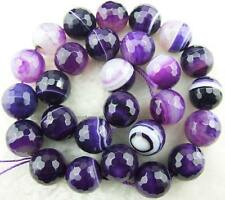 6mm8mm10mm12mm14mm Round Faceted Purple Stirp Agate Loose Beads 14''New