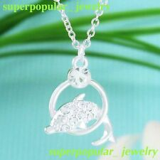 Crystal Jewelry Blue Dolphin Pendant Necklace N1150