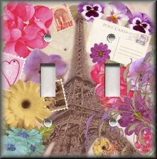 Light Switch Plate Cover - Remember Paris - Shabby Floral - Eiffel Tower - Decor