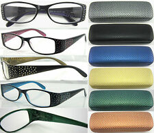 (R351H)Lazer Dot Design Detail Plastic Reading Glasses with Dotty Hard Case