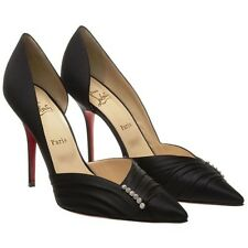 Christian Louboutin SUPER Black Satin Embellished Evening Heels Pumps Shoes $845