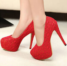 Fashion Woman's With lace Platform Stiletto High Heels Shoes H74