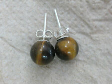 925 STERLING SILVER 8mm 9mm 10mm PINK RED CORAL TIGER EYE BALL STUDS EARRINGS