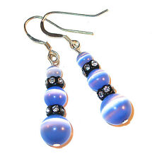 BLUE CATS EYE Earrings & Black Swarovski Crystal Elements Dangle Sterling Silver