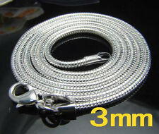 "Wholesale 5pcs 925Sterling Silver Fashion Snake Chain Necklace 3MM 16""-30"" NY192"