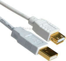 WHITE USB 2.0 Extension Cable A-A M/F Gold Contacts 12cm 25cm 50cm 1m 2m 3m 5m