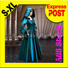 Renaissance Medieval Game Costume Cosplay Dress Gown Cape Hoodie size S-XL