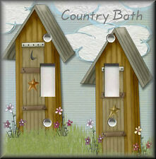 Light Switch Plate Cover - Country Bath - Outhouse - Bathroom Home Decor